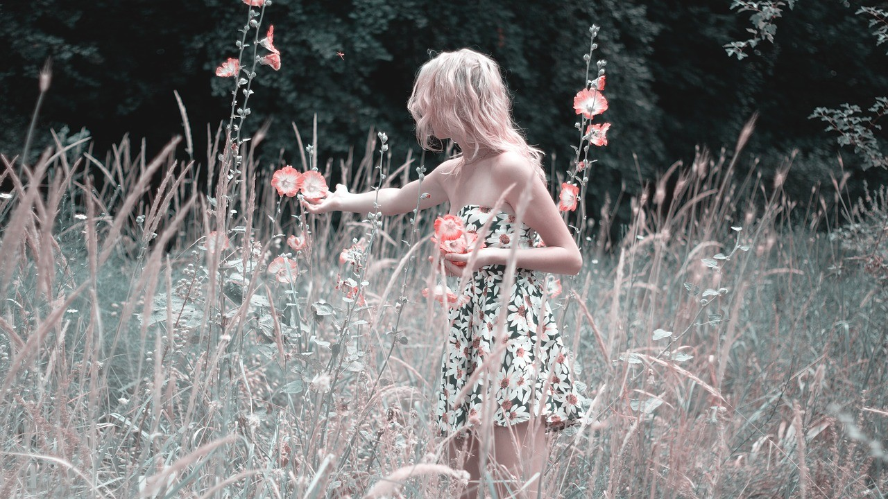 girl-collects-flowers-1725176_1280